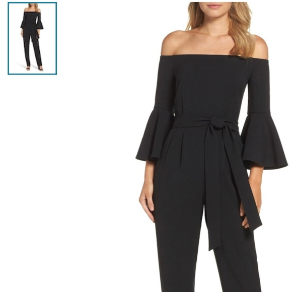 5105b0ea2be63 Eliza J Pants - Eliza J Off the Shoulder Bell Sleeve Jumpsuit